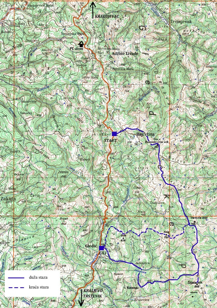 Mapa staza Gledićke transverzale 2014